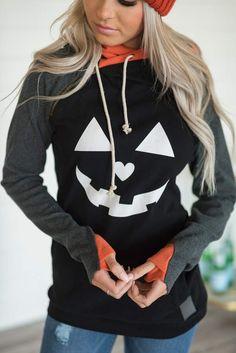 Shop Online The Latest Fashion Double Hood Halloween Pumpkin Face Sweatshirt Persona, Unique Fashion, Womens Fashion, Fall Fashion, Latest Fashion, Hooded Sweatshirts, Hoodies, Pullover Designs, Halloween Prints