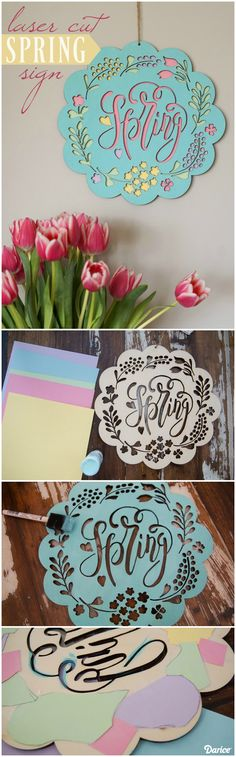 Transform our laser cut wood sign into a colorful Spring DIY decoration for your home. All you need is paint and colored paper to complete this project!