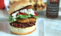Not all veggie burgers are grill-able, but this one is. Chickpeas are the base and amped in flavor from roasted peppers and caramelized onions.