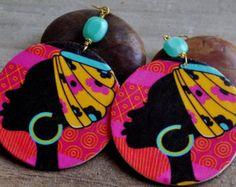 Afrocentric tissu Ankara boucles doreilles par ZenCustomJewelry