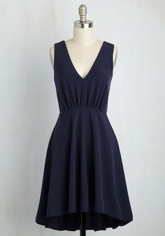 A Prominent Fixture Dress - Blue, Solid, Daytime Party, A-line, Sleeveless, Summer, Woven, Good, Mid-length