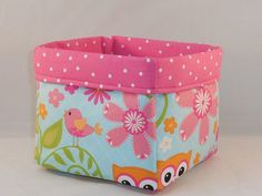 Lovely Floral Fabric Basket With Pink Polka Dot Liner For Storage Or Gift Giving