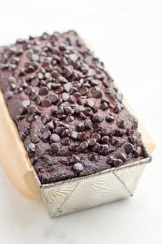 A low carb chocolate pound cake made of coconut flour and baked in a loaf pan. lchf, keto, thm, paleo option.