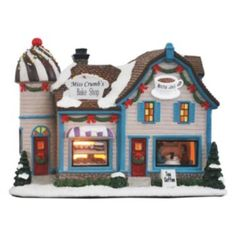 Bring a tasteful addition to your St. Nicholas Square village with this Sweets Shop & Coffee House building. Christmas Village Sets, Christmas Village Collections, Christmas Villages, All Things Christmas, Christmas Crafts, Xmas, Villas, Village Coffee, Putz Houses