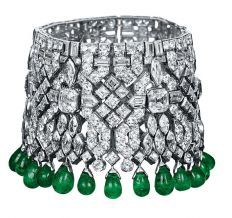 "Haute for spring: faceted products - Houston Chronicle. Manchette cuff bracelet of platinum, emeralds and diamonds by Van Cleef & Arpels, featured in ""The Impossible Collection of Jewelry"" by Vivienne Becker.  Photo: Assouline"