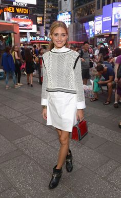 Layer Sweater with Shirt Dress | The Olivia Palermo Lookbook : Olivia Palermo's Best Looks From 2015