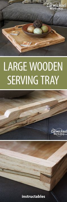 Large Wooden Serving Tray #woodworking #decor