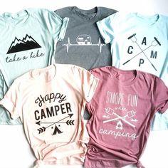 Camping Tees | Jane Diy Shirt Printing, Camping Hair, Spring T Shirts, Monogram T Shirts, Vinyl Shirts, Tee Shirts, Cool Shirts, Making Shirts, Cute Shirt Designs