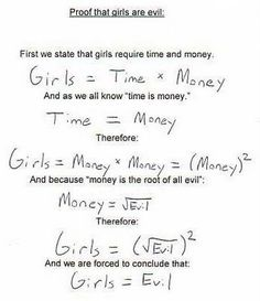 Nice Try, but your first assumption is incorrect.  Girls require time AND money is expressed:  Girls = time + money.... Thus, your proof is flawed, and you should go back to algebra :)