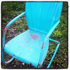 Vintage Metal Porch Or Lawn Chair Painted John Deere Green