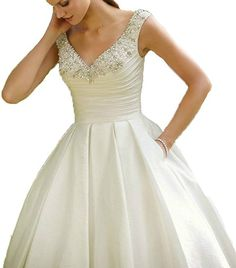 Dreamdress Women's Short Beach Satin Beads Garden Wedding Dress Bridal Ball >>> You can find out more details at the link of the image. (This is an affiliate link and I receive a commission for the sales)