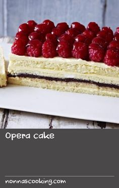 Opera cake |      A joconde sponge is a decorative almond-flavored sponge cake made in layers. Opéra gâteau is an elaborate version of it, here made with kirsch syrup and a chocolate ganache.Equipment and preparation: You will need a 33x23cm/13x9in Swiss roll tin and a free-standing food mixer.