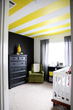 Painted striped ceiling. This is awesome, though having recently painted stripes on a wall, I know how much this would truly suck to have to do by oneself!