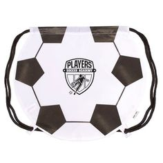 - New and unique alternative to the basic cinch up backpack. - GameTime! ® sports bags are available in 8 patented sports shapes with the same durability and reliability of the classic drawstring bag. - Soccer Ball stock art comes pre-printed on each bag. Add your logo or message for an exciting and professional giveaway or promotion.. - Made of 210D Nylon and features grommeted adjustable soft black Nylon shoulder strap doubles as drawstring closure.