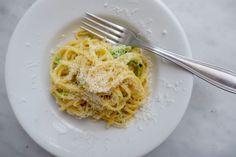 A visit to Rachel Roddy's Kitchen in Rome to watch her make zucchini carbonara..