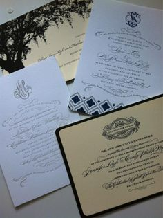 Calligraphy & monogram envy in the form of these custom letterpress wedding invitations by Emma J. Design. www.emmajdesign.com