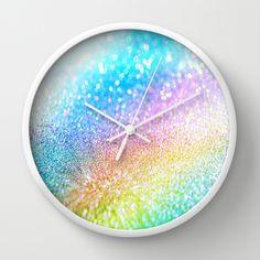 rainbow glitter Wall Clock #wallclock #wallclocks #glitter #sparkle #dormdecor #room #bedroom #girl #fairy #fairy dust #colorful