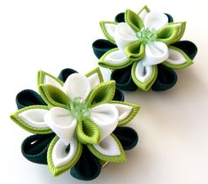 Kanzashi Fabric Flowers. Set of 2 hair clips. Green and by JuLVa, $13.50
