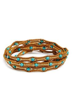 Chan Luu Graduated Beaded Leather Wrap Bracelet available at #Nordstrom