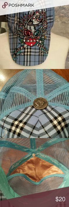 Ed Hardy by Christian Audigier Cute blue and black plaid with a heart with a black panther and roses and rhinestones. Worn 2 times. Ed Hardy by Christian Audigier Accessories Hats