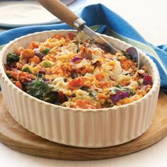 Mixed Vegie Lentil Bake Recipe Main Dishes with red lentils onions mixed vegetables fresh spinach diced tomatoes vegetable stock cheddar cheese grated parmesan cheese Lentil Recipes, Vegetable Recipes, Vegetarian Recipes, Healthy Recipes, Potato Recipes, Vegetable Dishes, Vegetable Stock, Vegetable Bake, Veggie Bake