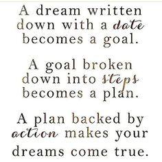 Een droom die je opschrijft wordt een doel...