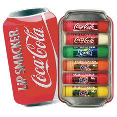 Coca Cola Lip Smackers - This collectable Gift Set is a must for all who love lip balms. The collection includes iconic flavours like Coca Cola, Coca Cola Vanilla, Sprite, Fanta Orange, Fanta Strawberry and Fanta Pineapple that taste like the real thing.