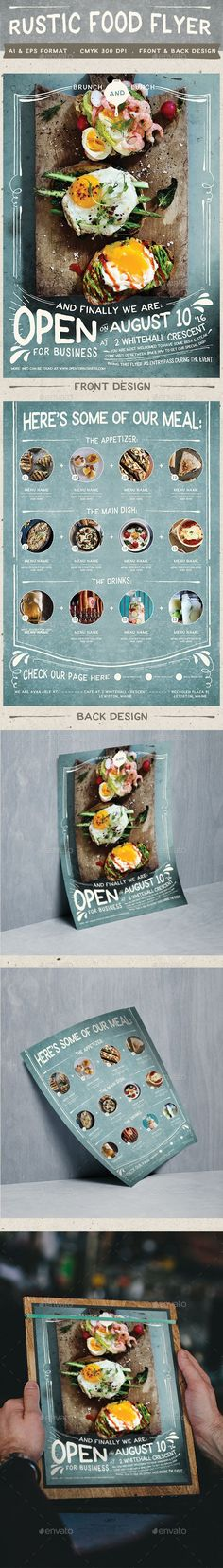 Buy Rustic Food Promo Flyer by KlapauciusCo on GraphicRiver. Draw more customers to your business by spreading words about it using this rustic food promo flyer that's very easy . Carta Restaurant, Restaurant Poster, Restaurant Menu Design, Restaurant Branding, Resturant Menu, Rustic Restaurant, Restaurant Food, Web Design, Cafe Design