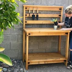 Super simple DIY potting bench... have a designated spots to help your plants thrive!!! #diy #pottingbench Planting Tools, Bench With Back, Shelf Board, Diy Furniture Plans, Back Patio, Do It Yourself Projects, Murphy Bed, Diy Projects, Project Ideas