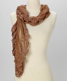 Another great find on #zulily! Young Essence Taupe Lace Scarf by Young Essence #zulilyfinds