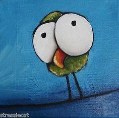 Original Acrylic on Canvas Painting Lucia Stewart Whimsical Bird Green Fellow | eBay