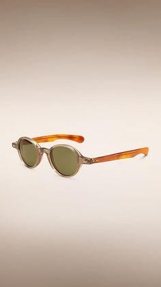 de418060227 Burberry Smokey Grey The Scholar Round Frame Sunglasses - Round frame  smoked grey sunglasses with amber