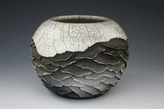 Intricately carved Japanese pit-fired ceramic art. It's white clay with coloration from smoke. No colored glaze, no paint. Amazing, delicate work of art.  MelodieGrace.com