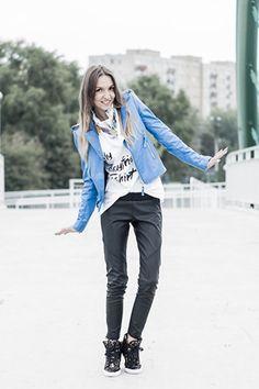 Blue Leather Biker Jacket   Choies