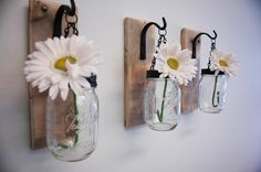 Individual Hanging Mason Jar Wall Decor mounted to recycled wood board with wrought iron hooks