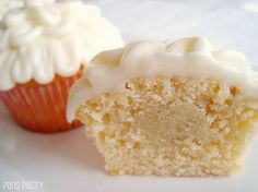 Marzipan-Filled Almond Cupcakes! Definitely making these!