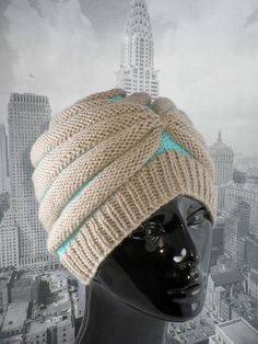 Cute Hat! Stripe Beehive Turban Knitting Pattern