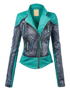 Come Together California CTC Womens Faux Leather Denim Motorcycle Jacket Vegan Leather Jacket, Faux Leather Jackets, Denim Motorcycle Jacket, Moto Jacket, Blue Motorcycle, Cool Outfits, Fashion Outfits, Womens Fashion, Coats For Women