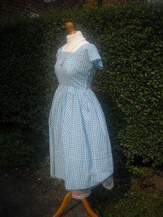 Vintage 1950s Gingham dress full skirt blue by rorevie on Etsy, $55.00