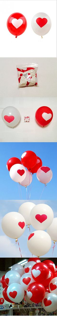 Wedding Balloons, Heart Balloons, Heart Shape Balloons, Wedding Decorations, Red and White, qty 20 Us Seller