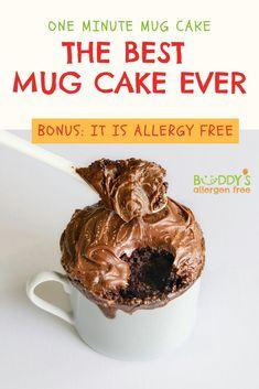 One minute mug cake. The best mug cake ever. Bonus it is allergy free! Chocolate Fudge With Chocolate Fudge Frosting! Brown Rice, Sorghum, Arrowroot, Potato Starch, Chia, Sugar, Cocoa Powder, Dried Plum, Baking Powder, Baking Soda, Salt. Chocolate Fudge Frosting: Organic Non-Hydrogenated Palm Shortening, Powdered Sugar (Sugar, Cornstarch), Cocoa Powder,  Plum Puree, Vanilla Extract, Salt. This easy chocolate gluten free mug cake is microwavable! Vegan, Eggless, Microwave, Mix, Best, No Egg! Chocolate Fudge Frosting, Chocolate Mug Cakes, Salted Chocolate, Gluten Free Chocolate, Gluten Free Mug Cake, Vegan Mug Cakes, Sugar Sugar, Powdered Sugar, Easy Gluten Free Desserts