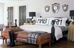 At Home with Badgley Mischka, via Elle Decor.  Featuring Leontine Linens' Mark applique monogram.