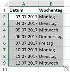 Fortlaufende Datumswerte kann Excel automatisch erzeugen - auf Wunsch auch nur die Arbeitstage, also ohne Samstag und Sonntag.