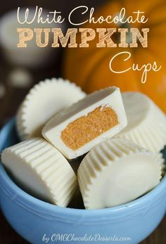 White Chocolate Pumpkin Cups - a fall twist on Reese's Peanut Butter Cups! These pumpkin chocolate candies are so sweet, you'll want to eat the whole batch! Pumpkin Recipes, Fall Recipes, Holiday Recipes, Holiday Foods, Candy Recipes, Dessert Recipes, Pumpkin Cream Cheeses, Chocolate Desserts, Chocolate Candies