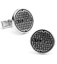 Cufflinks Inc - Ravi Ratan Interest - Sterling NYC Manhole Cover Cufflinks