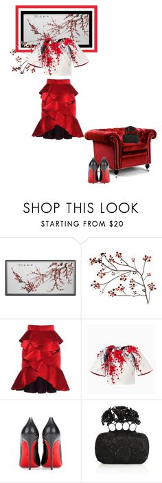"""""""Red blossoms"""" by theitalianglam ❤ liked on Polyvore featuring WALL, Home Decorators Collection, Balmain, Christian Louboutin and Alexander McQueen"""