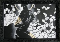 figure painting black and white modern mixed media art by ancagray