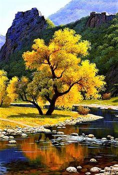 Autumn Landscape ,diy diamond painting yellow tree with river Beautiful World, Beautiful Places, Beautiful Pictures, Beautiful Scenery, Landscape Photography, Nature Photography, Amazing Photography, Photography Ideas, Yellow Tree