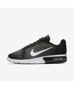 Nike Air Max Sequent 2 852461-005 Nike Air Max Trainers, Mens Trainers, Mens Nike Air, Nike Men, Running Shoes For Men, Sports Shoes, Black Dark, Wolf, Men Sneakers