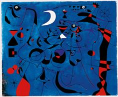 """Miro """"Figures at Night Guided by the Phosphorescent Tracks of Snails""""1940"""